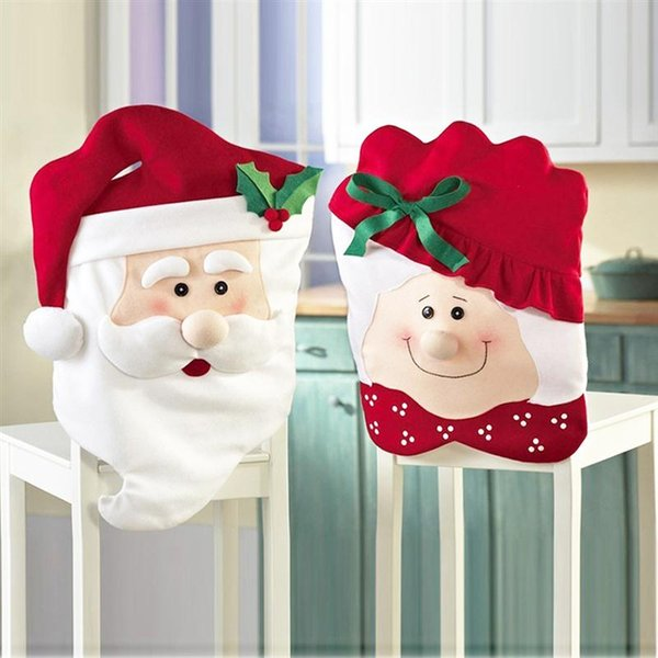 2pcs Mr and Mrs Santa Claus Christmas Dining Kitchen Chair Back Cover Set