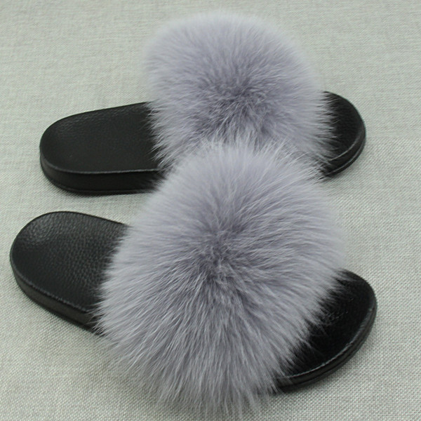 Real  Fur Slides Plus Size Summer 2018 Open Toe Fluffy Real Hair Slippers Casual Black Slip On Flip Flops Furry Shoes