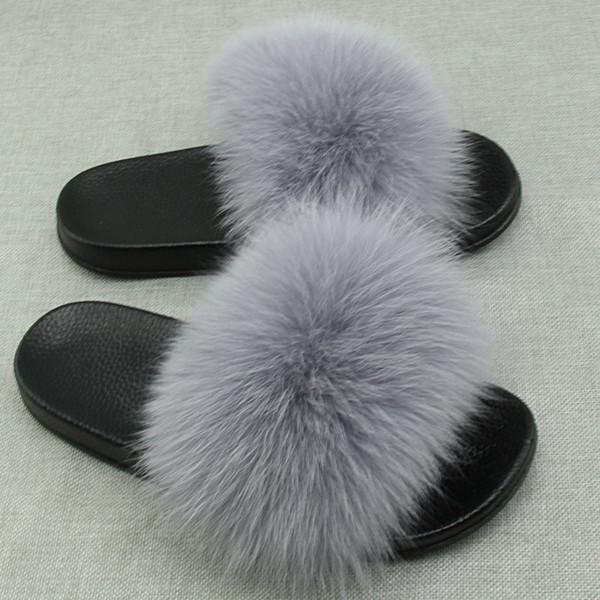 Real Fox Fur Slides Plus Size Verão 2018 Dedo Do Pé Aberto Fofo Chinelos Reais Casuais Preto Deslizamento Em Chinelos Sapatos Peludos