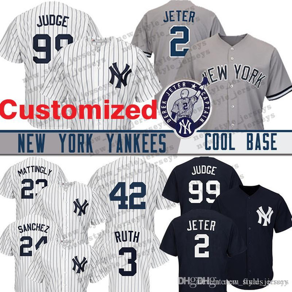 reputable site b91a6 26739 2019 Custom New York 99 Aaron Judge Yankees Jersey 27 Giancarlo Stanton 24  Gary Sanchez 42 Mariano Rivera Gleyber Torres Baseball Jerseys From ...