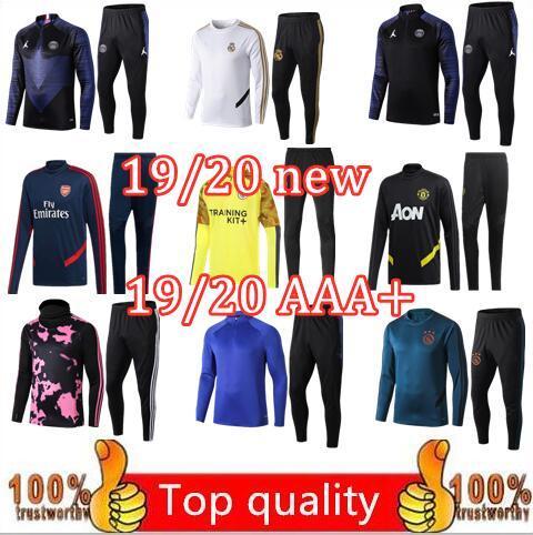 2019 2020 yeni psg Erkek Eşofman Real Madrid Setleri 19/20 futbol Eşofman Setleri ceket MBAPPE survetement psg POGBA Futbol AJAX Eğitim su