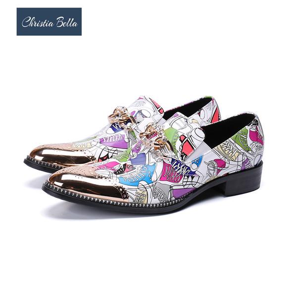 Christia Bella Fashion Multicolour Print Wedding Party Men Shoes Bullock Cow Leather Men Dress Shoes Business Formal
