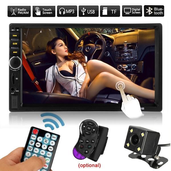 "best selling Autoradio 2 din Cassette Recorder Car Radio HD 7"" 7018B Touch Screen Car Audio Bluetooth Rear View Camera MP5 Multimidio Player"
