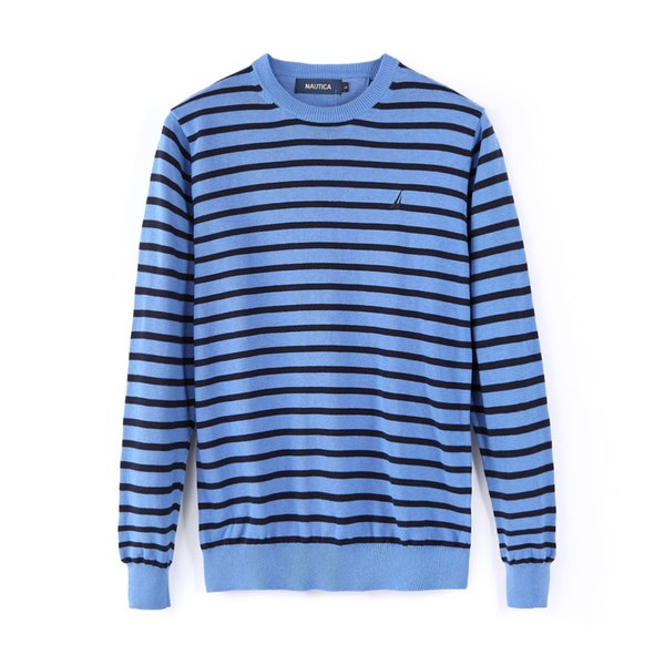 Autumn and winter Retro fashion sports Europe and the tide brand men's sweater stripe new loose hooded sweater knitting men top