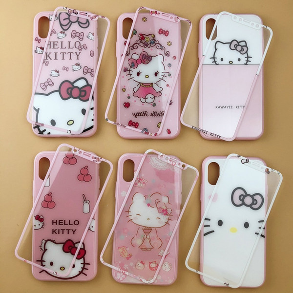 Cute Hello Kitty Glass Back Cover Case For Iphone 7 6 6s 8 Plus Kt Phone Case For Iphone X Xr Xs Max +tempered Glass Front Film