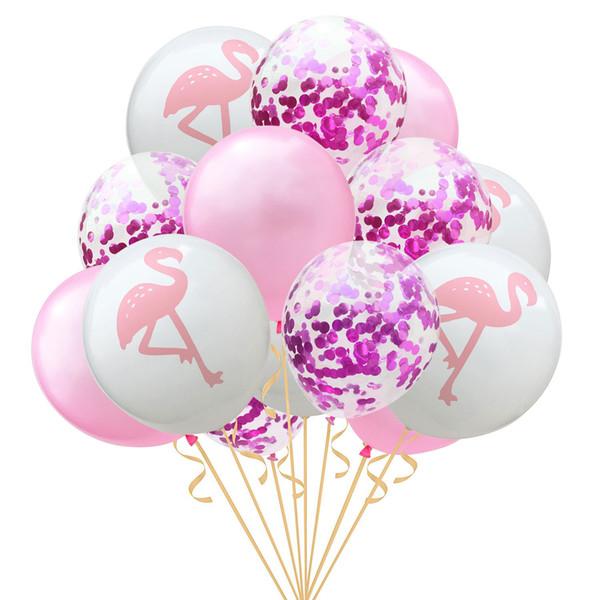 15 stücke 12 inch Flamingo Ananas Schildkröte blatt Latex Ballons Konfetti Ballons für Hochzeitsdekoration Geburtstag Hawaii Party Decor
