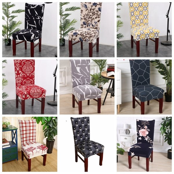 Chair Covers Spandex Kitchen Slipcover Removable Dining Seat Covers Elastic  Seat Case Office Banquet Wedding Decor 39 Designs YW2792 White Chair ...
