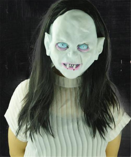 Halloween Witch Ghost Costume Accessories Vendetta Sadako Horror Masks With Hair Thriller Rotocast Unisex Masks