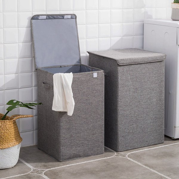 New Fashion Cotton And Linen Collapsible Hamper Large Storage Waterproof Laundry Bucket Home Bathroom Needs Storage Basket SH190703