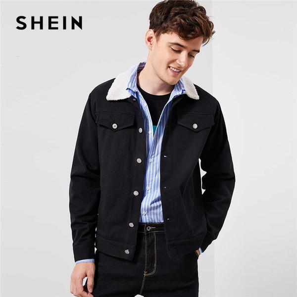b0caf5ed2f SHEIN Men Contrast Faux Black Teddy Collar Buttoned 100% Cotton Single  Breasted Jacket Autumn Minimalist