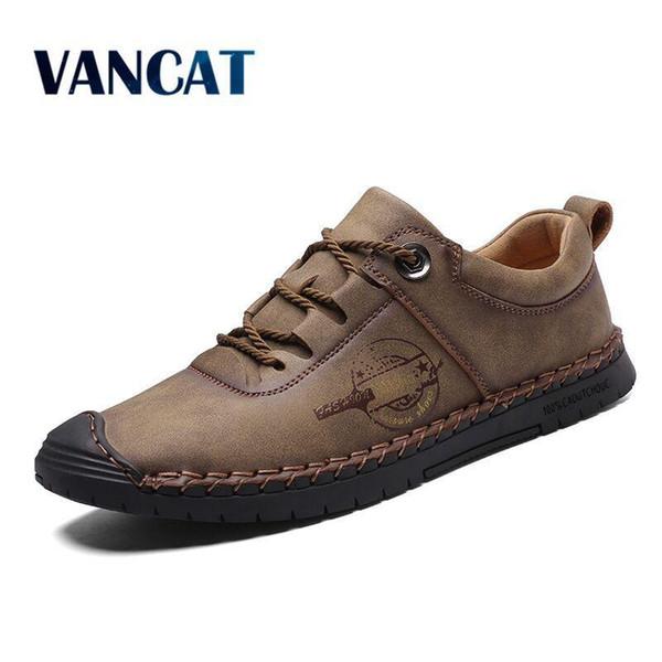 Vancat New Split Leather Men Casual Shoes Fashion Top Quality Driving Moccasins Slip On Loafers Men Flat Shoes Men's