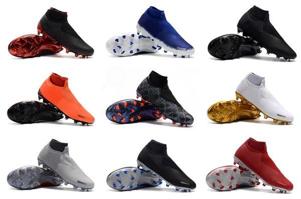 2019 Siyah KıRMıZı Phantom Görüş Elite DF FG Futbol Cleats Deri Futbol Ayakkabı Erkek Çorap Laceless Phantom VSN Yüksek Ayak Bileği Altın Futbol Çizmeler