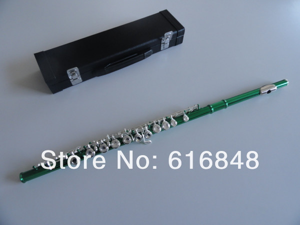Free Shipping Unique Green Tube Silver Plated Key 16 Holes Closed C Tune Flute Woodwinds Instrument E Key Flute For Students With Case