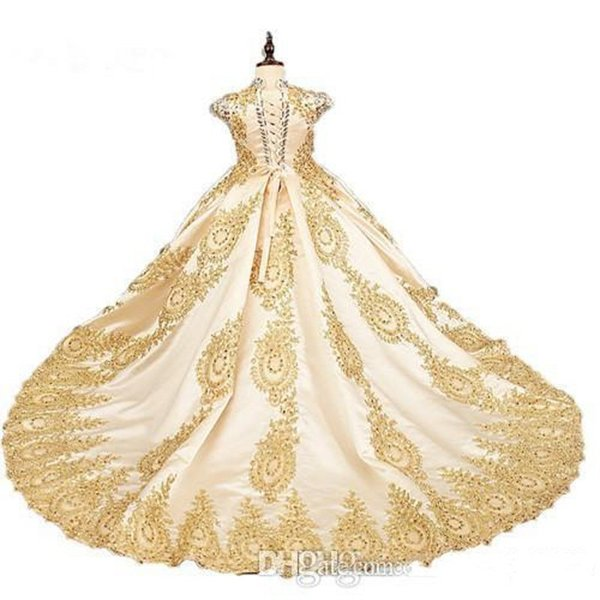 2020 Gold Lace Beading Short Sleeves Champagne Ball Gown Flower Girl Dresses Sequins Satin High Neck Girls Pageant Dress with Train