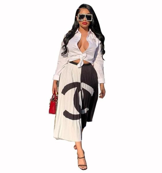 Новое поступление элегантный контрастный цвет письмо печатных плиссированные юбки лоскутное эластичный пояс юбки-линии Женщины Повседневная партия макси платье