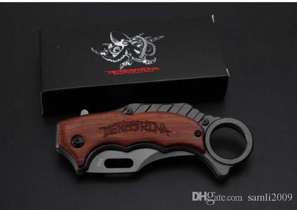 Hoja de acero 5cr15MOV cuchillo plegable de plata NUEVO Karambit X62 + madera de la manija 57HRC superficie de titanio gris herramientas de embalaje caja de regalo negro garra EDC