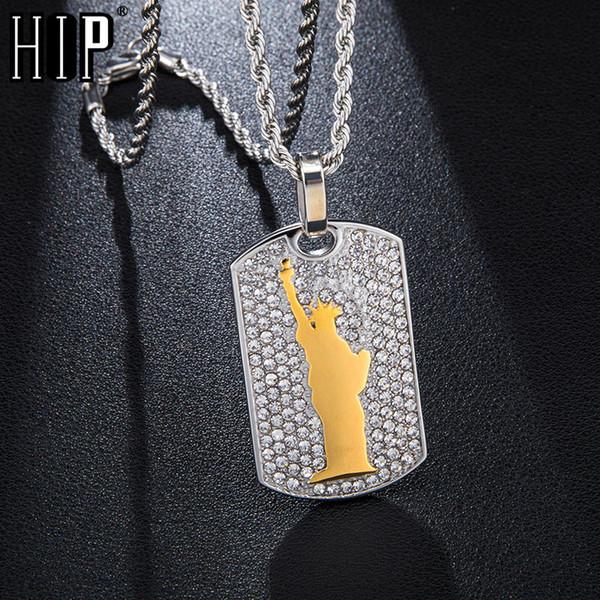 Hip Hop Iced Out Bling Statue de la Liberté Pavé Rhinestoned En Acier Inoxydable Collier Pendentifs Pour Hommes Bijoux