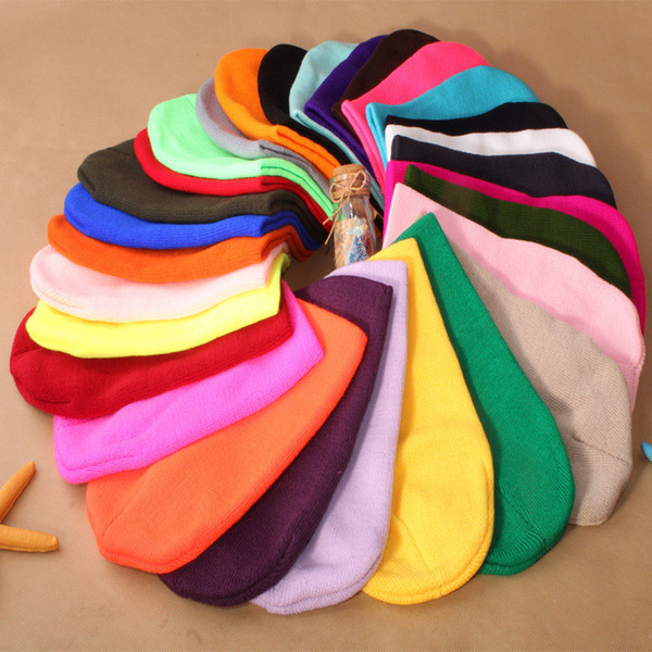 Fashion Knitted Cap Autumn Winter Men Cotton Warm Hat Brand Heavy Hair Ball Twist Beanies Solid Color Hip-Hop Wool Hats 500pcs T1C435
