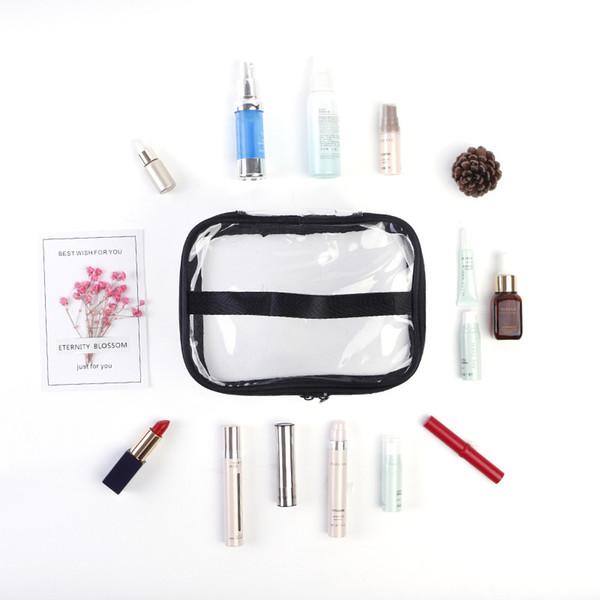 Crystal Clear Cosmetic Bag TSA Air Travel Juego de artículos de tocador con cremallera Vinilo PVC Maquillaje Bolsa Manija Correas para mujeres Hombres