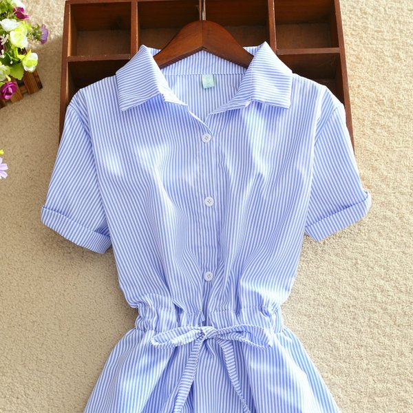 Fashion-Elegant Office Summer Shirt Elegant Blue Stripped Cotton Turn Down Collar Wear to Work Shirts Women Dresses