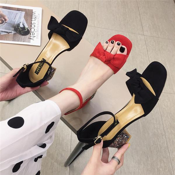Vente femme sandales 2019 mode Lady paillettes haute chaussures à talons bout ouvert orteil cap conception arc taille asiatique taille 35-39asha