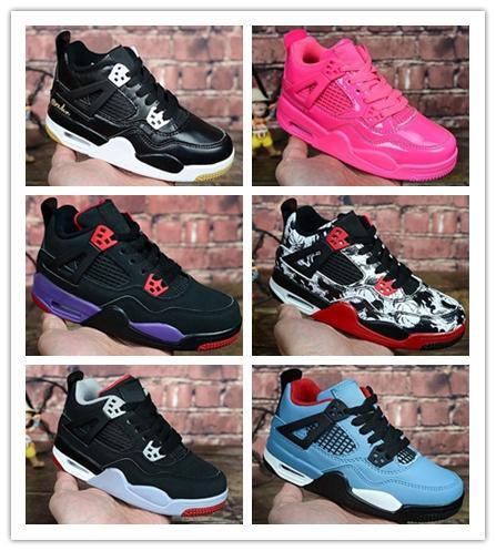 2018 4s OG Black Cat Basketball Shoes Reflect For kids Boys Girls Sports Training Sneakers High Quality Blackcat Big kids shoes 28-35