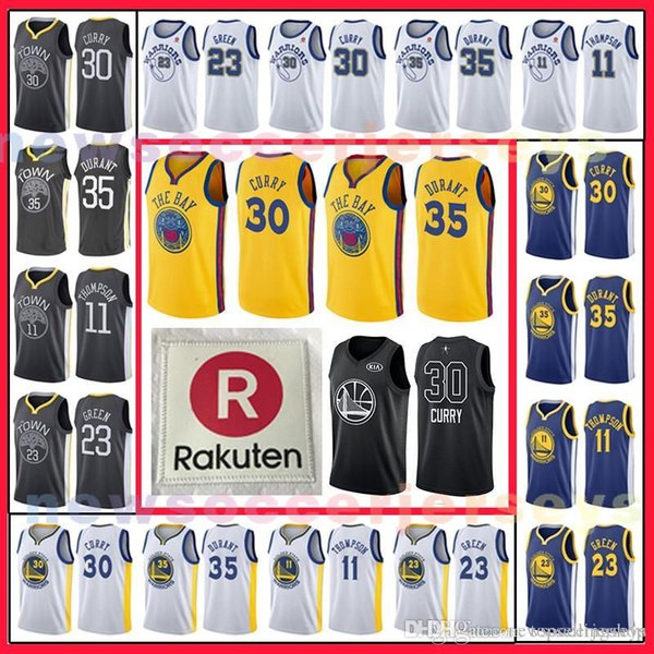 official photos aa352 fab87 2018 30 Stephen Curry Golden 35 Kevin Durant Golden State Warriors Jersey  23 Draymond Green 11 Klay Thompson 9 Andre Lguodala From Topsellingshop, ...
