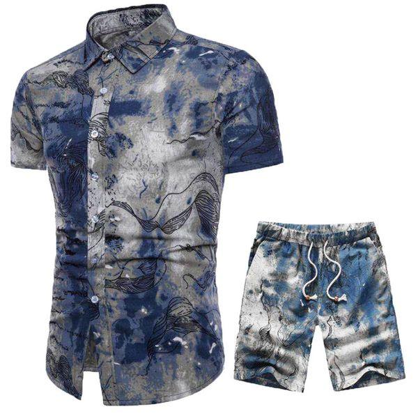 Летний Новый Удобный Мода С Коротким Рукавом И Короткие Штаны Печати мужской Костюм # 4M20 Мужская Одежда Уличная одежда Hot Fit Красивый