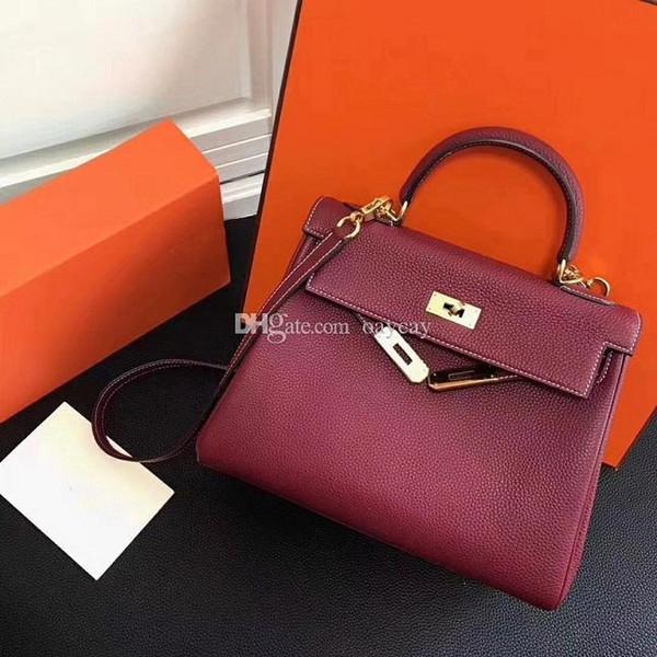 New Luxury 25cm 28cm 32cm Genuine leather Lock Hand Bags Leather Women Handbags Top-Handle Ladies Shoulder Bags Women Messenger Bags