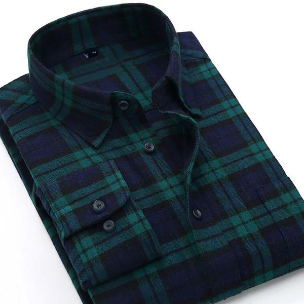 Качественная теплая осень-зима фланелевая клетчатая рубашка красная клетчатая рубашка мужские рубашки с длинным рукавом сорочка Homme хлопок классические рубашки SH190825
