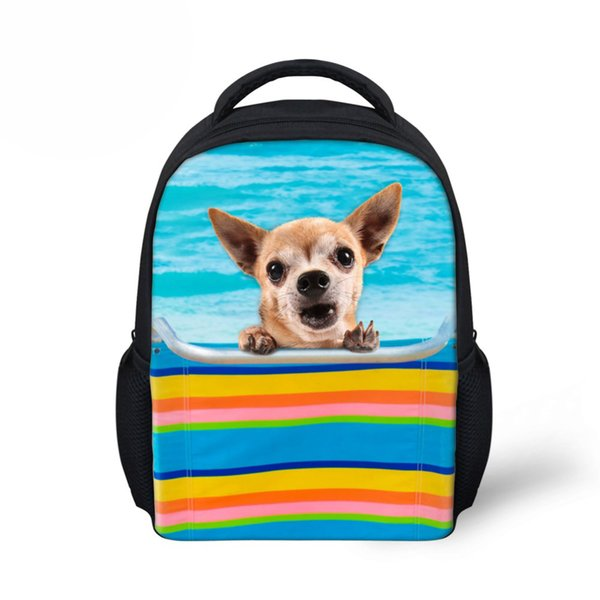 Small 3D Cute Dog Chihuahua Print Backpack for Baby Girls Zoo Animal School Backpacks Kindergarten Book Bag Kids Casual Rucksack