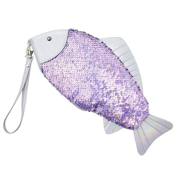Femmes en forme de poisson Pochette Sac Fille Sequin Porte-monnaie Stylo Crayon Sacs Sirène Glitter Sac À Main Portefeuille Bourse RRA467