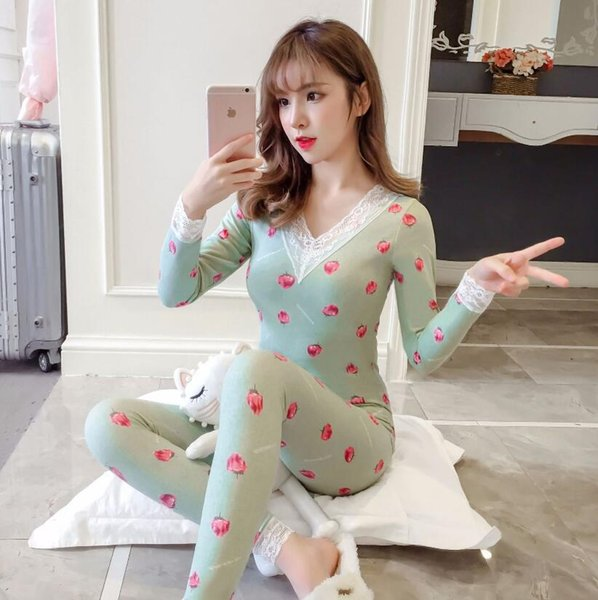 Women Thermal Underwear Warm Set Cartoon Long Sleeve Thermal Underwear Winter Long John Woman Winter Clothes Plue Size