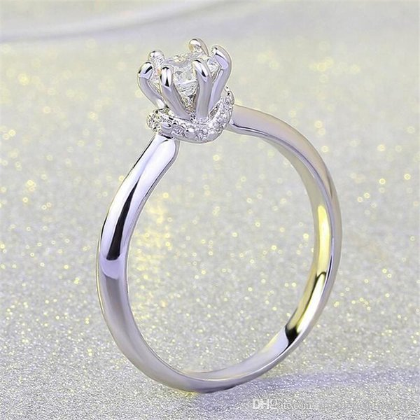 Key4fashion 10pcs/lots Fashion Jewelry Wedding band rings for women Diamonique Cz 925 Sterling silver Filled Female Engagement Party Ring