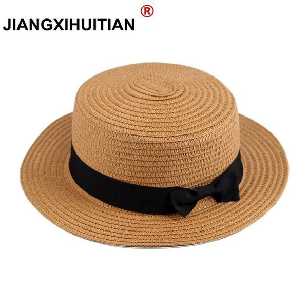 wholesale Summer women straw hat Parent-child sun hat Kids Large Brim Beach caps Boater Beach Ribbon Round Flat Top fedora hat D19011103