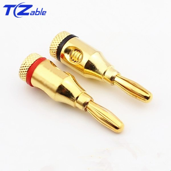 Gold-Plated Banana Plug Dpeaker Cable Banana Head Speaker Cable Plug Audio Speaker Amplifier Mixer Welding High Quality Black And Red
