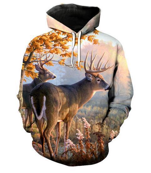 Kostenloser Versand Unisex Ahornblatt Rotwild Lustige 3D Print Frauen männer Hoodies Hoodies Street Wear Lässige Hip Hop Taschen Sweatshirt Kleidung WQ01