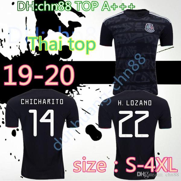 Größe: S-4XL 2019 Mexico GOLD CUP Schwarze Fußballtrikots WM 2018 Heim-Auswärts CHICHARITO Fußballtrikots H.LOZANO G.DOS SANTOS Hemden