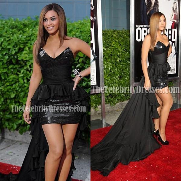 Rihanna Платье De Festa бинты Пром платья Sexy Черный Блестки Короткие Знаменитости платья 2020 Новая мода Бесплатная доставка платья Red Carpet