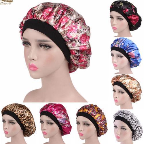 2019 nouvelle mode nous femmes femmes satin nuit sommeil bonnet de cheveux chapeau bonnet de soie couverture large bande élastique