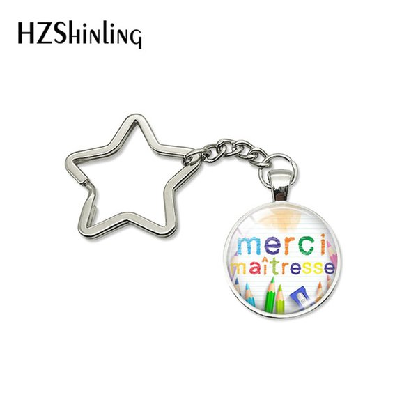 2019 New Arrival Quotes Star Key Chains Merci Maitresse Glass Cabochon Star Keychain Car Accessories Keyrings Gift for Men Women