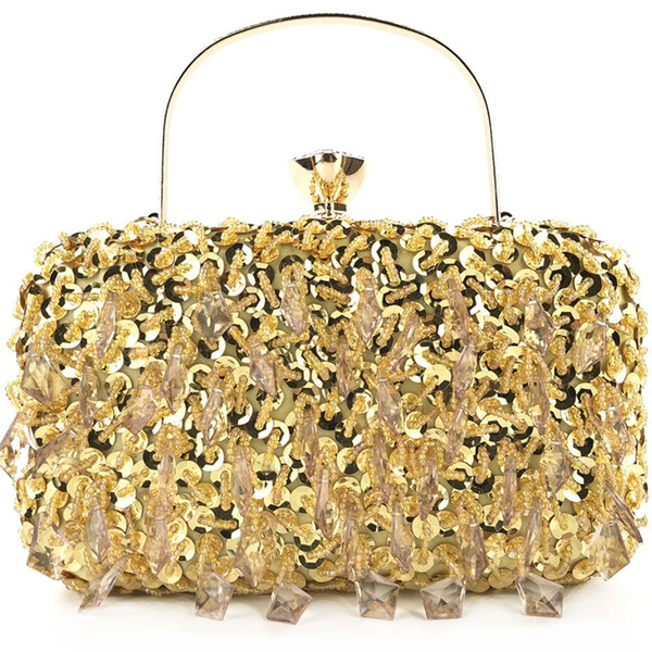 Socialite Women Sequin Tassel Evening Bags Wedding Party Bridal Beaded Purse Crystal Clutch Handbag Bolso Fiesta Mujer