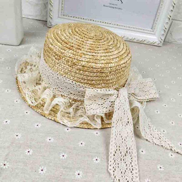 Summer straw Fedoras fashion outdoor beach big hats lace bow caps and literary personality of the student cap free shipping