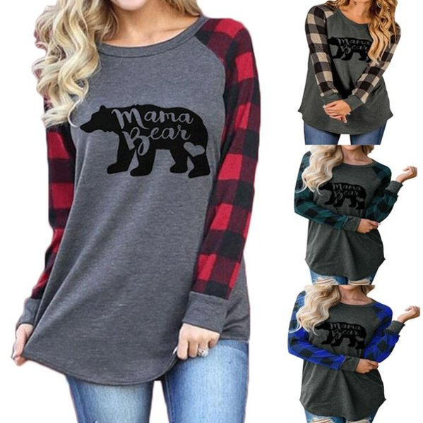 best selling Women Mama Bear Hoodie Plaid Patchwork Letter Printed Sweatshirts Round Neck Casual Tops 4 Colors 10pcs LJJO7139