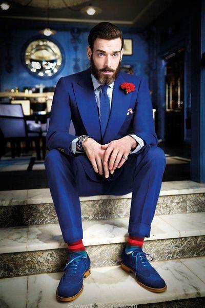 Por encargo Groomsmen Pico solapa Novio Esmoquin Azul trajes de hombre Boda / Baile de graduación / Cena Mejor hombre Blazer (chaqueta + pantalones + corbata) B496