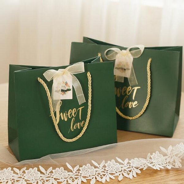 20pcs Creative Dark Green Sweet Love Paper Chocolate Bag Party Supplies Gift Bag Wedding Favors Candy Boxes Makeups Hand Bags