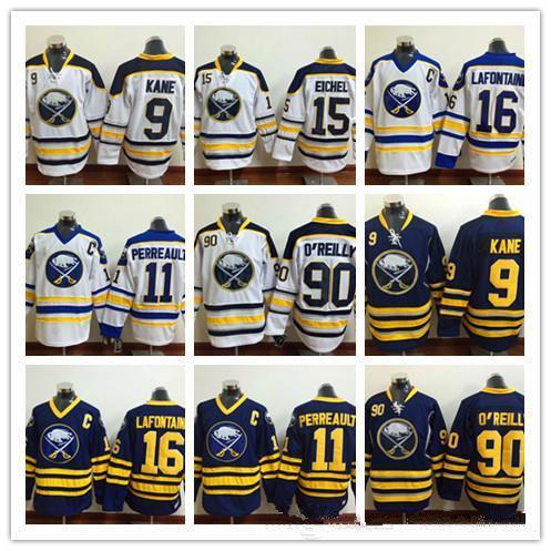 Баффало Сэйбрз мужчин 15 Джек Eichel хоккей кофта 90 Райан О Рейли 16 Пэт Лафонтен 9 Эвандер Кейн 11 Гилберт Перро мужские трикотажные