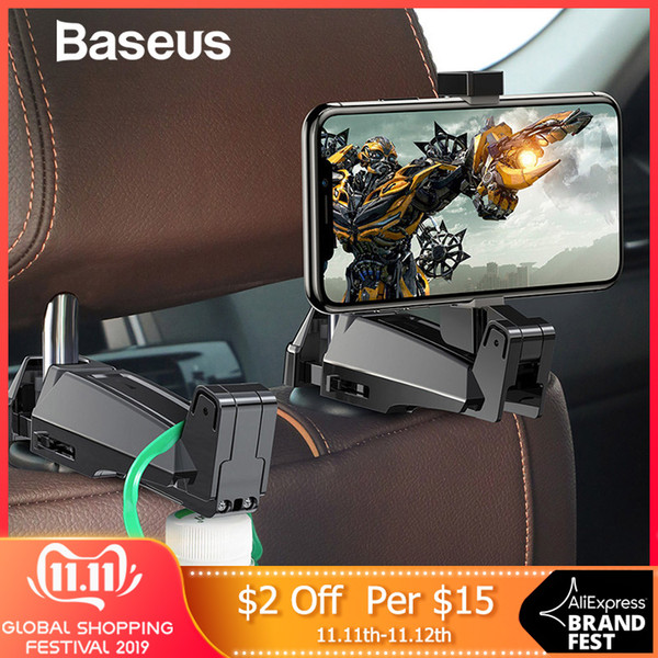 baseus 2 in1 car headrest hook with phone holder back seat hook for bag handbag fastener backseat organizer multifunction clip