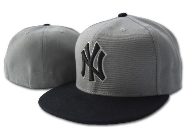 Hotsale Grey Top Black Visier Fashion NY hat Hats Men in Baseballgröße Sport Caps für Verkauf versandkostenfrei ausgestattet
