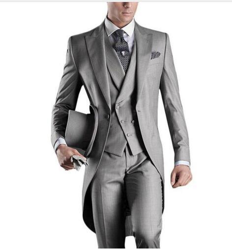 2019 clássico elegante Light Gray Ternos Blazer longa com calças 2017 smoking do casamento para Festa Formal Bridegoom homens de negócios usam ternos 3 peça